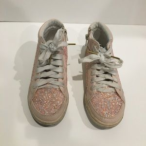 Justice girls pink glitter high top sneakers